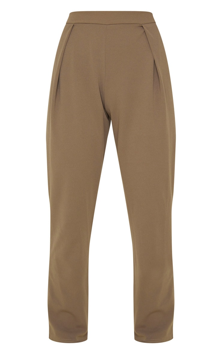 Mocha High Waisted Pleat Detail Tapered Trouser 3