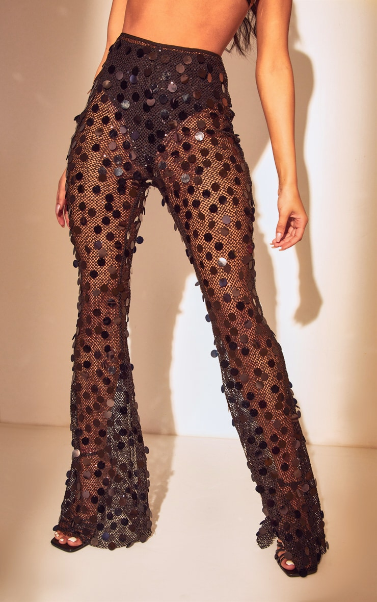 Black Sequin Fishnet Flare Trousers 2