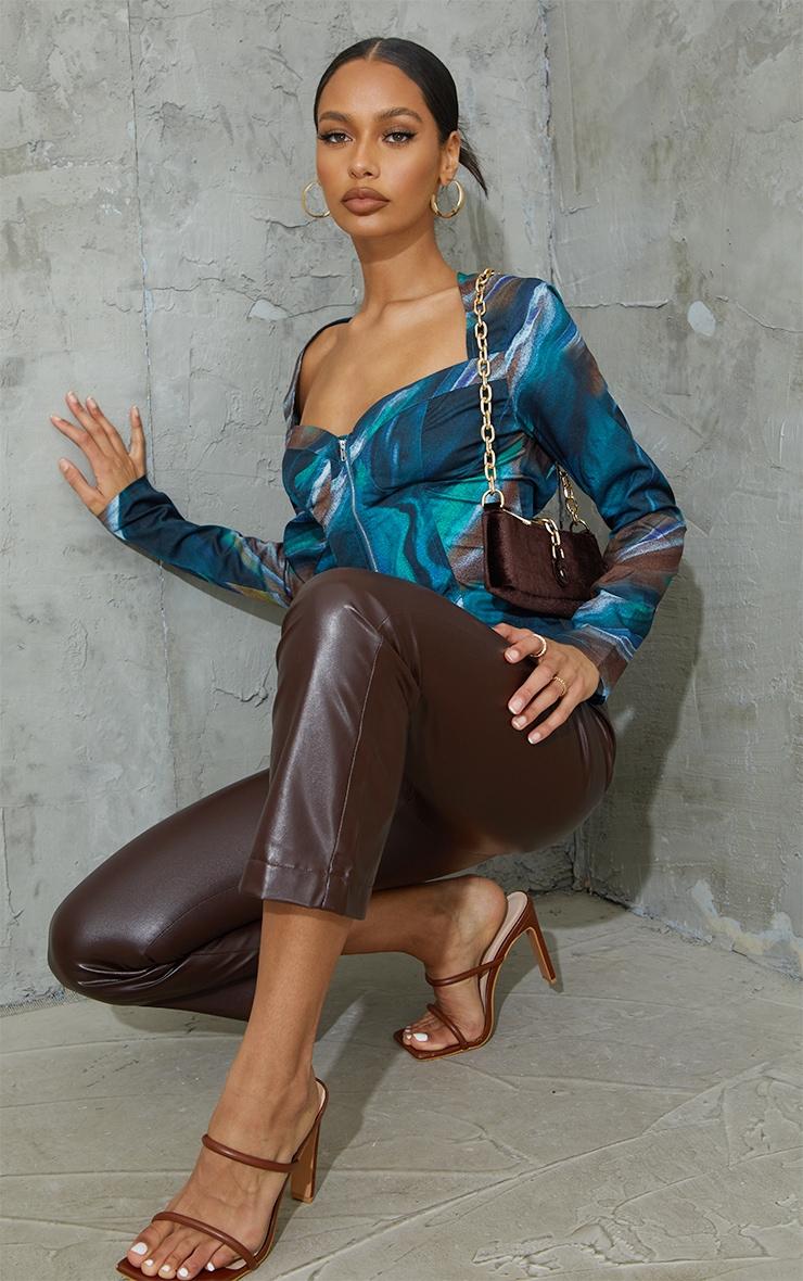 Green Abstract Print Woven Long Sleeve Zip Front Corset Top 3