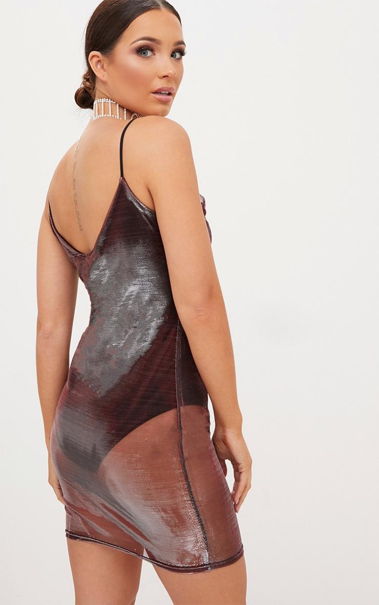 Gold Metalic Strappy Mesh Overlay Bodycon Dress 2
