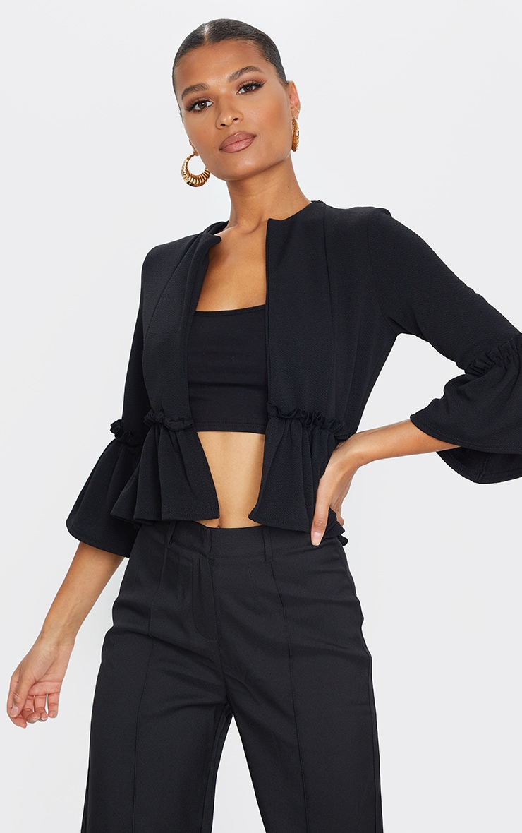 Black Frill Sleeve Blazer 1