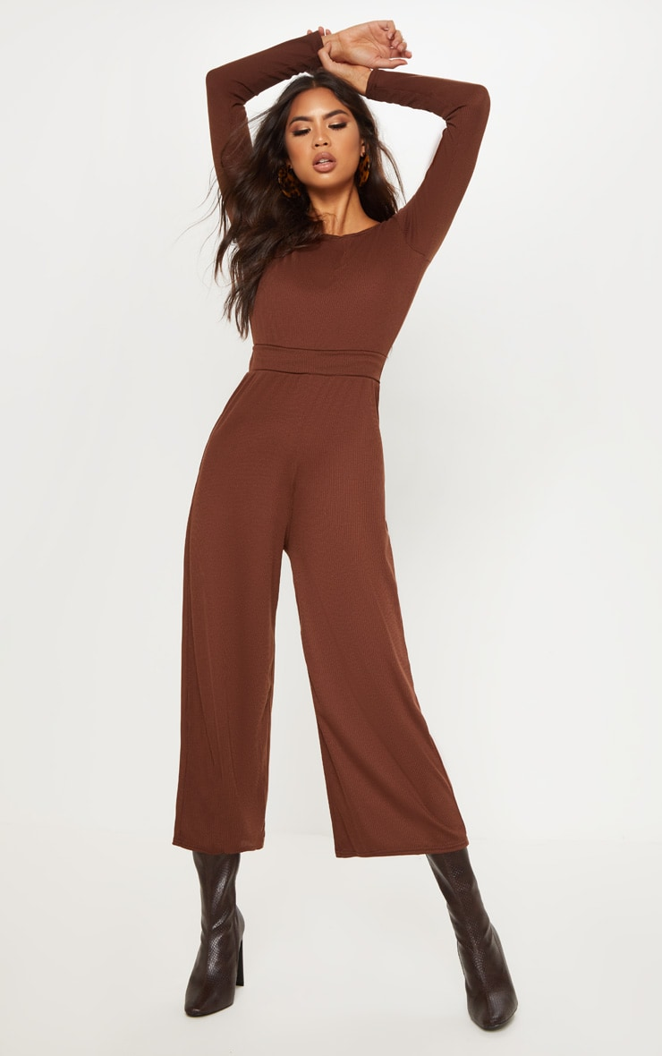Chocolate Rib Off Shoulder Culotte Jumpsuit 1