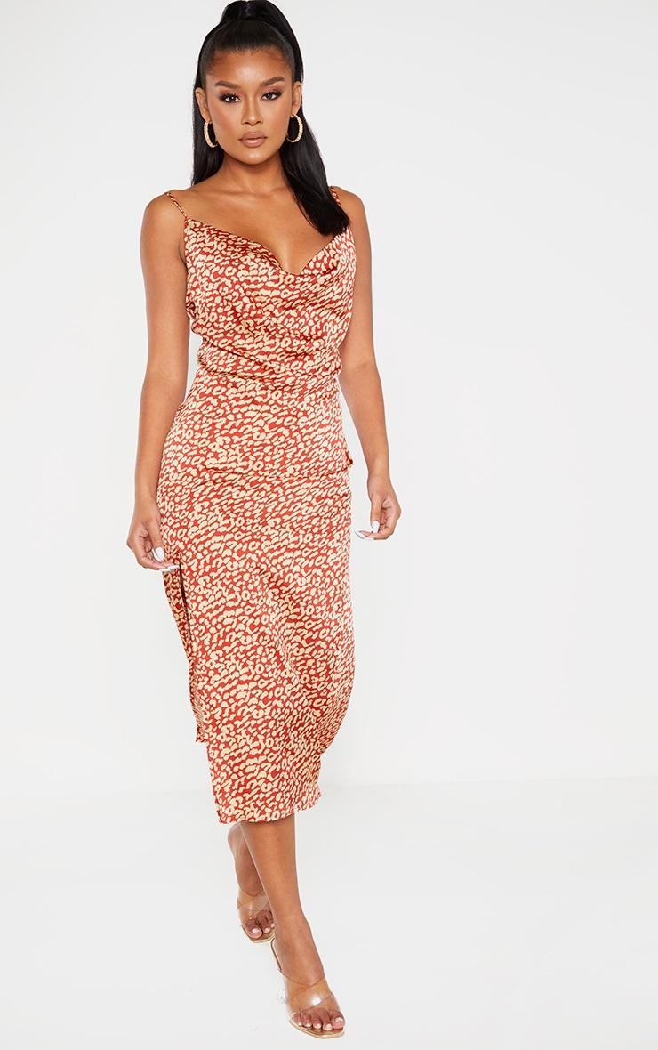 Multi Leopard Print Strappy Satin Cowl Midi Dress 4