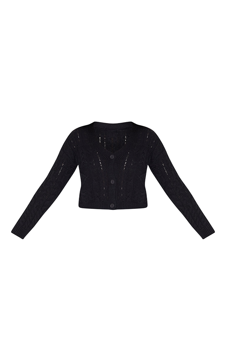 Black Mixed Cable Chunky Knitted Cardigan 5