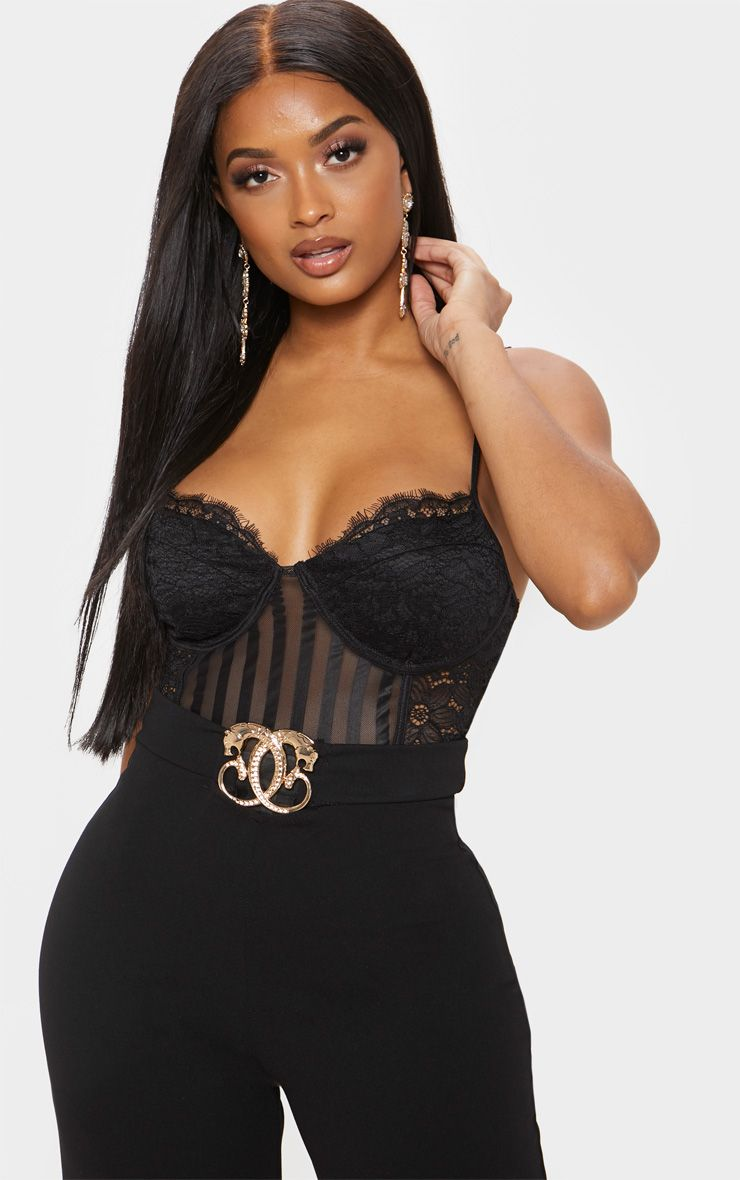 Shape Black Lace Mesh Stripe Bodysuit 1