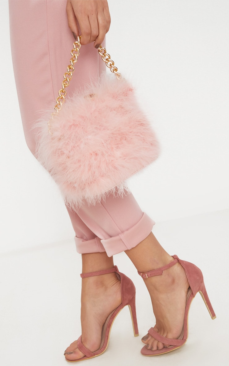 Pink Marabou Feather Clasp Chain Handle Bag 2