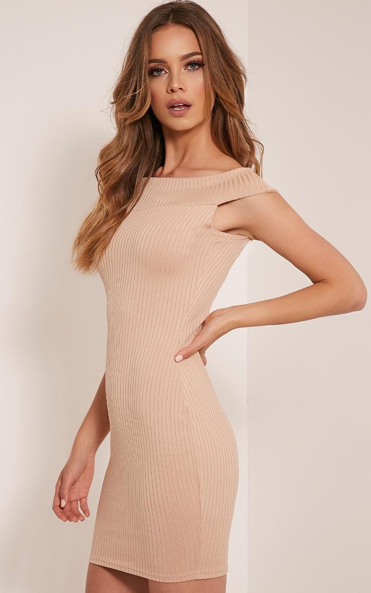 Rylah Camel Bardot Ribbed Bodycon Dress 3