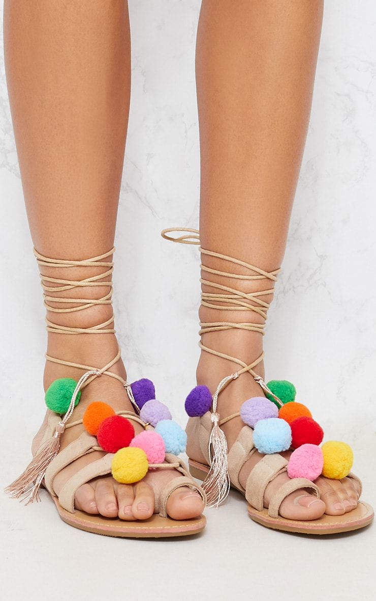 Nude Pom Pom Ghillie Sandals 4