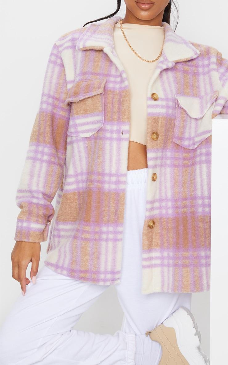 Lilac Brushed Check Print Shacket 4