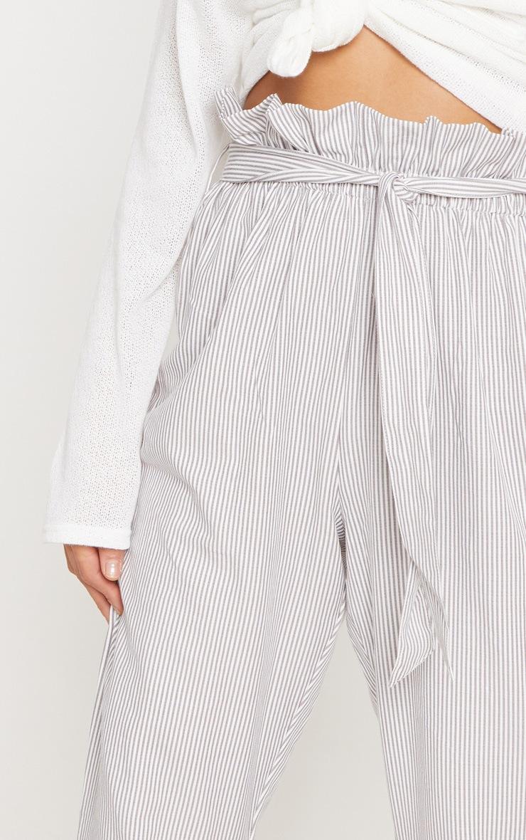 Grey Tie Waist Stripe Cigarette Trouser 5