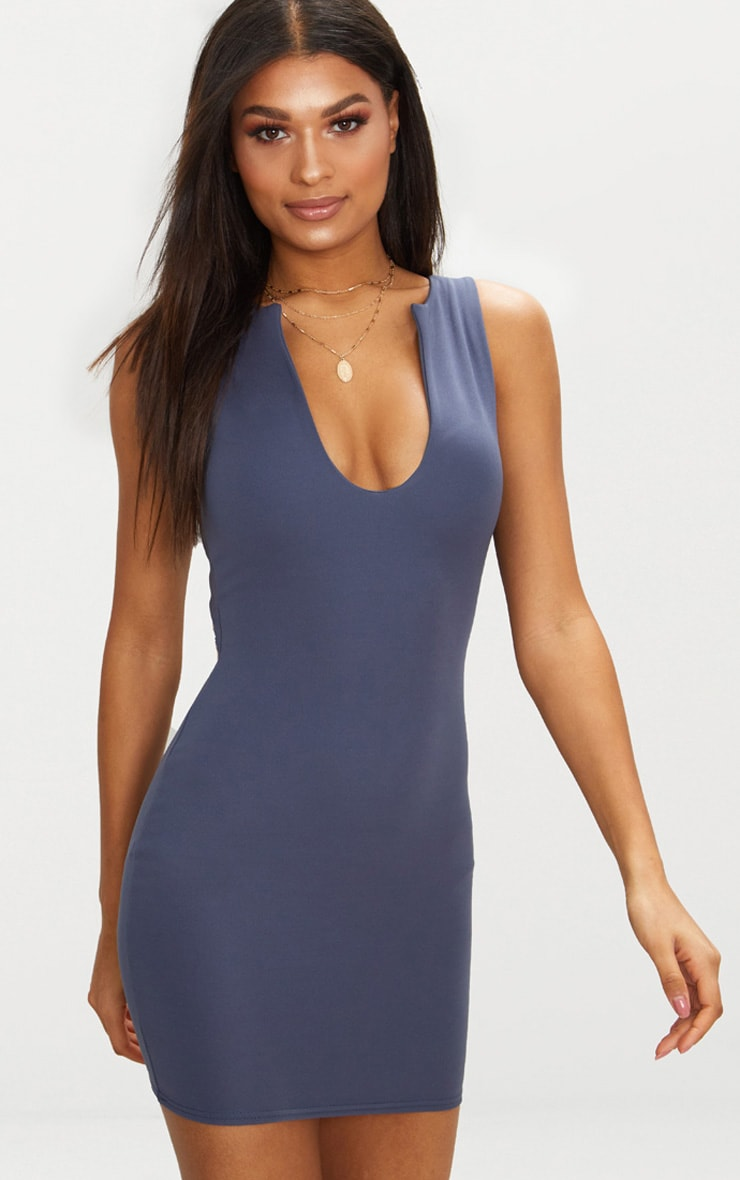 Charcoal Blue V Plunge Bodycon Dress 1