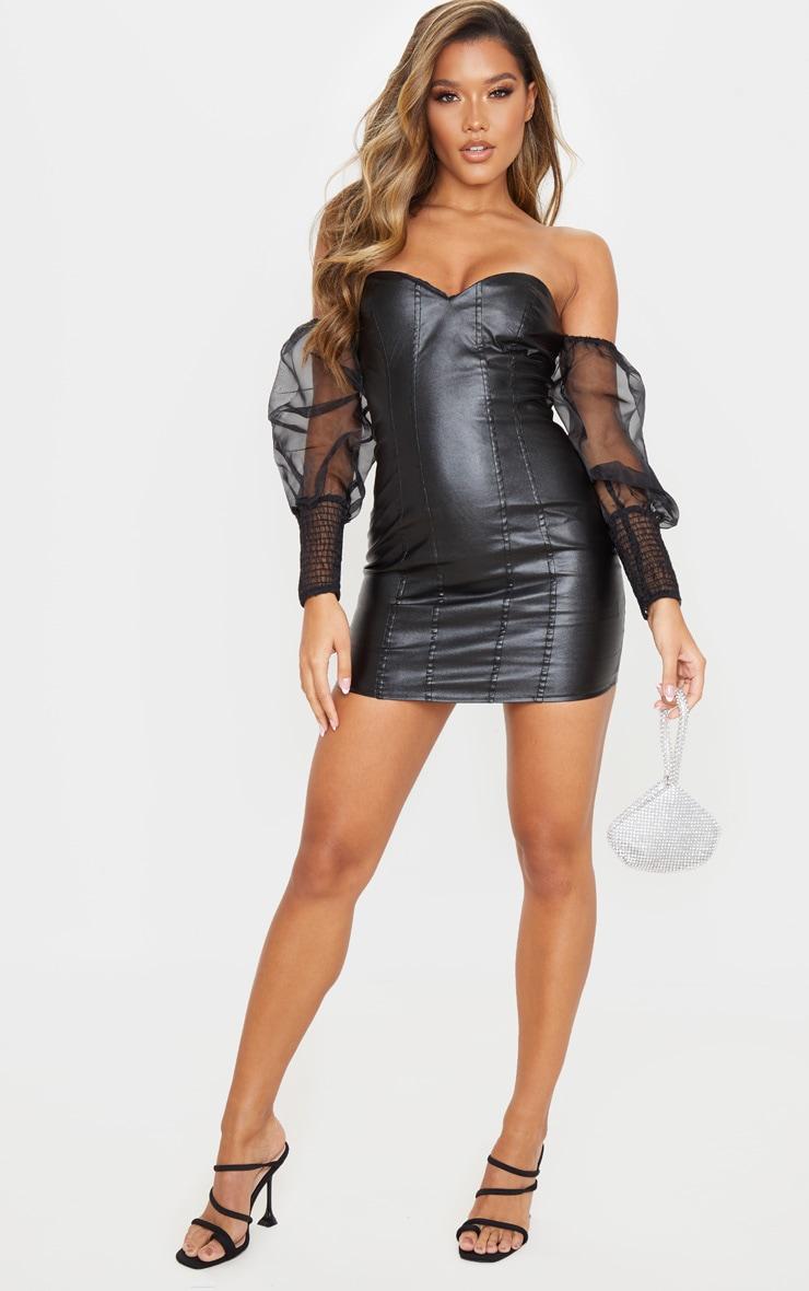 Black PU Organza Sleeve Bardot Bodycon Dress 4