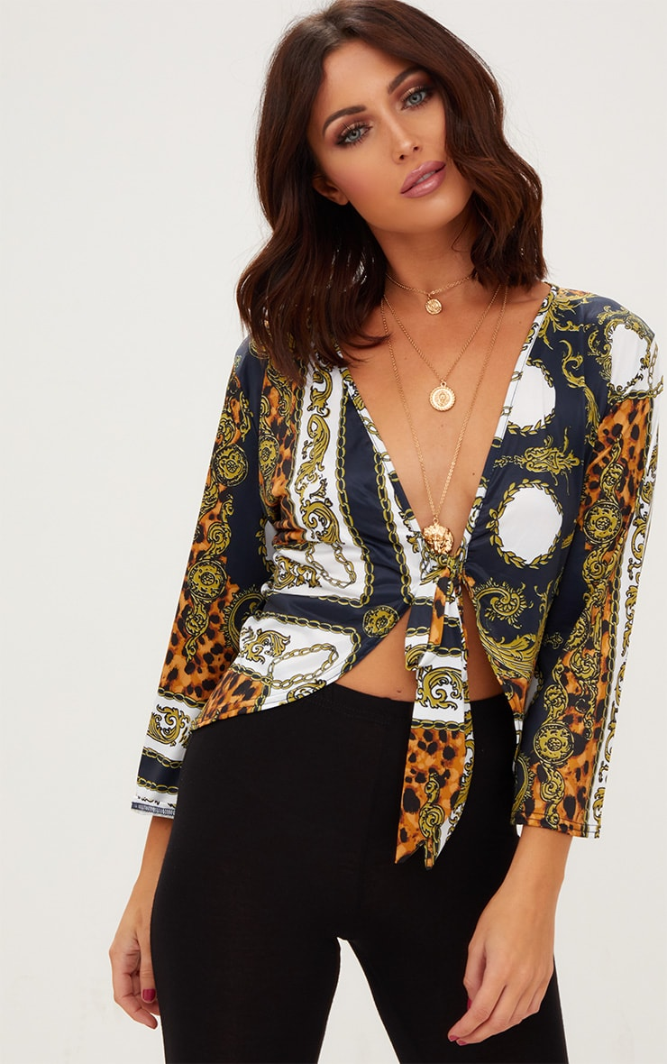Navy Chain Print Tie Front Blouse  1