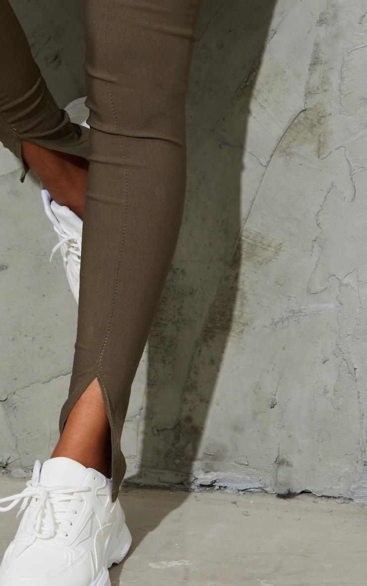 Khaki Stretch Split Hem Skinny Trousers 4