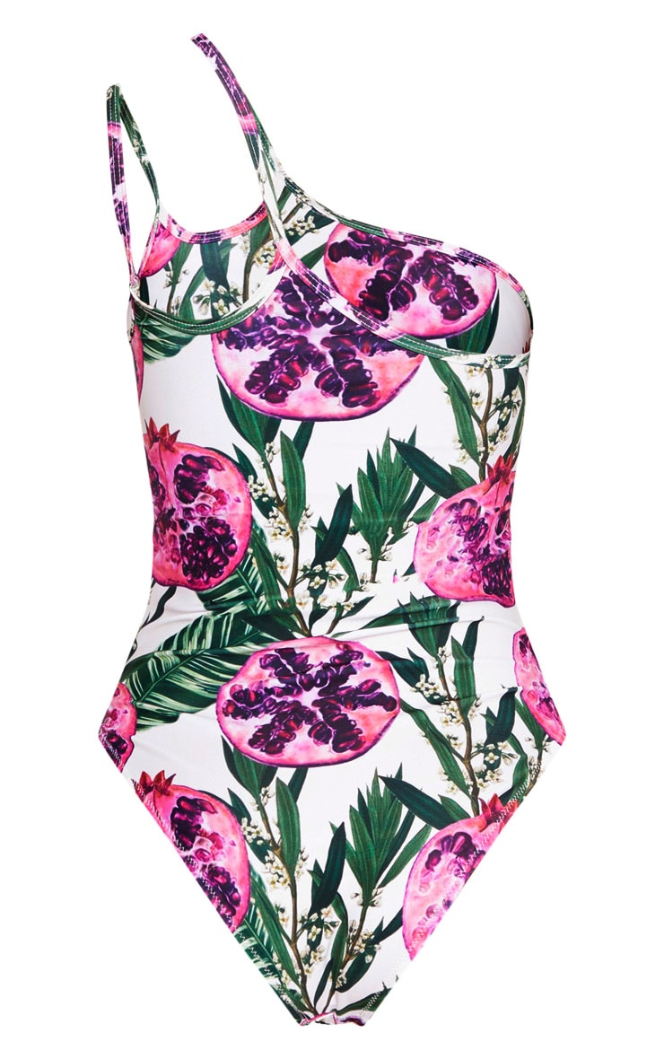 Pink Pomegranate Double Strap One Shoulder Swimsuit 6