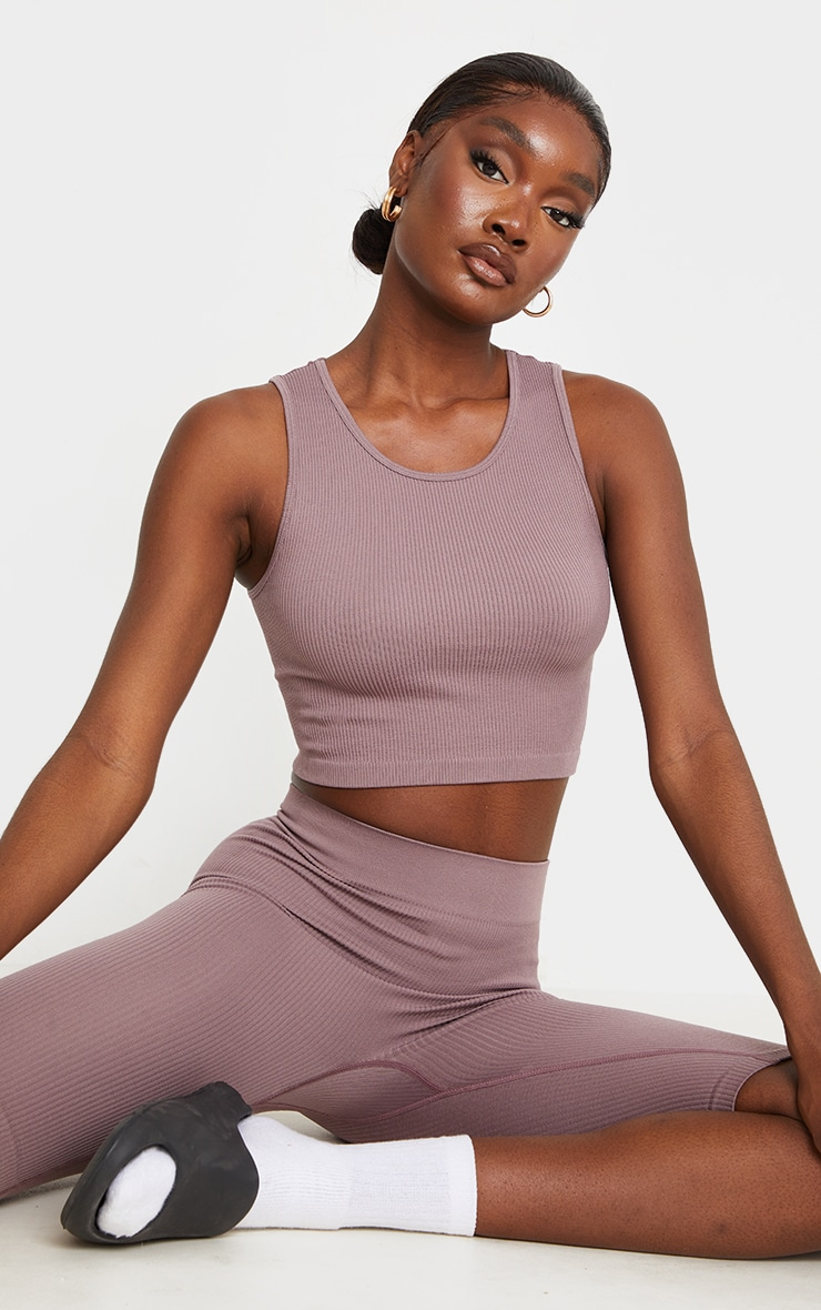 Tall Mauve Structured Contour Sleeveless Ribbed Crop Top 1