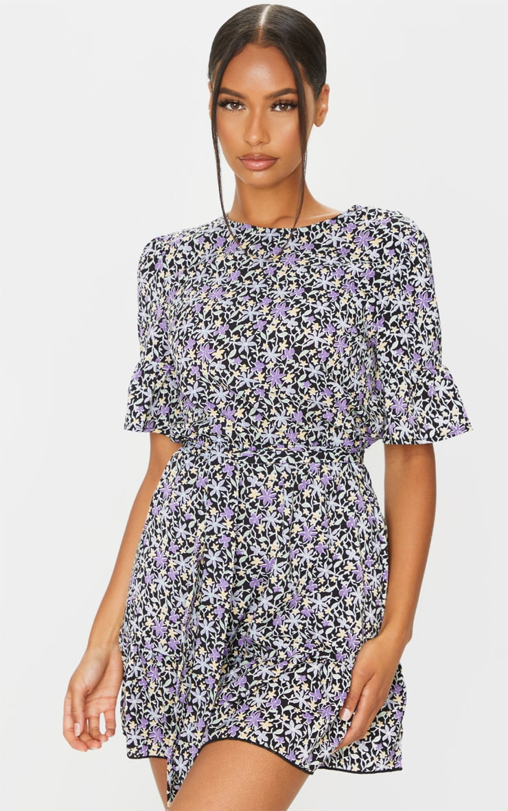 Black and Purple Ditsy Floral Print Tie Detail Dress 1