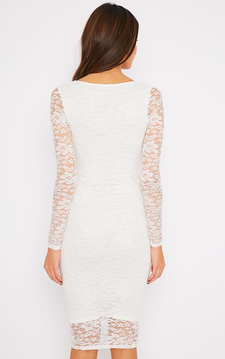 Macie Cream Lace Plunge Midi Dress  2
