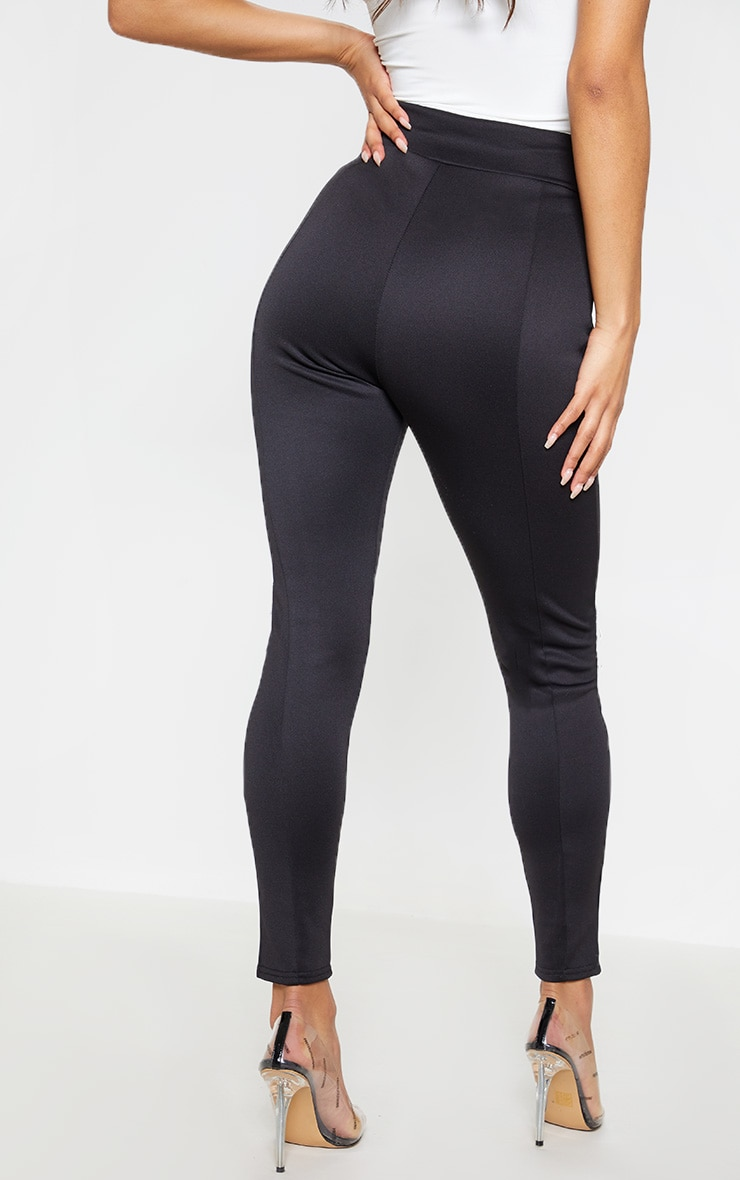 Black Scuba High Waisted V Detail Seamed Legging 5