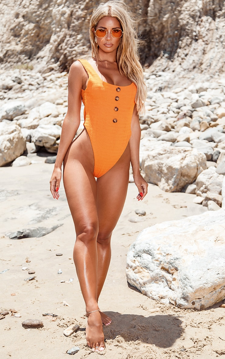 Orange Crinkle Button Swimsuit