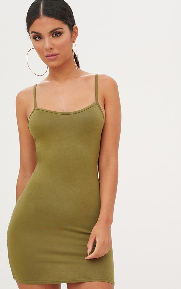 Green Strappy Bodycon Dress 1