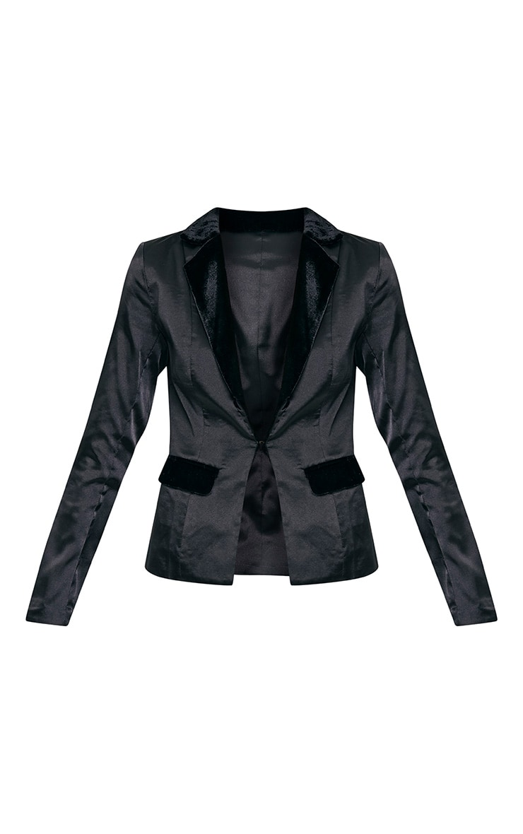 Alaynie Black Velvet Lapel Satin Blazer 3