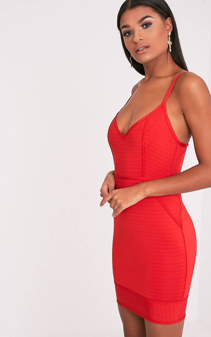 Emily Red Strappy Bandage Bodycon Dress 4
