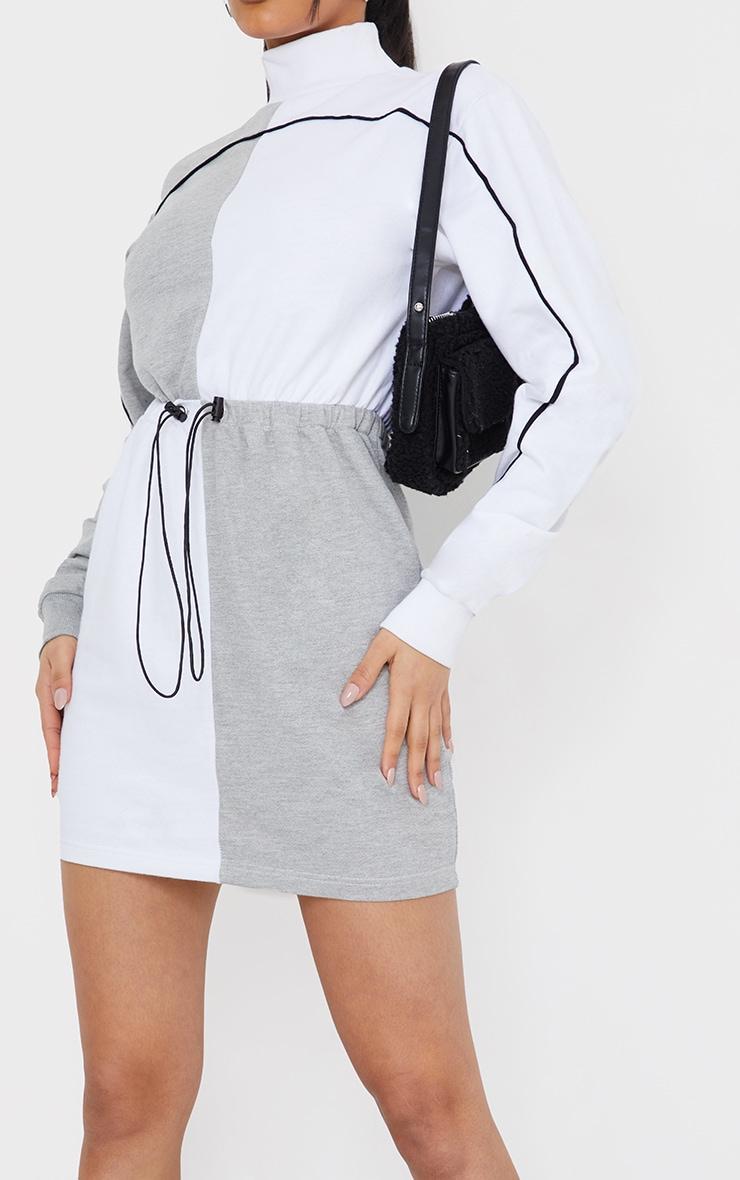 Grey Contrast Block High Neck Toggle Waist Sweatshirt Dress 4