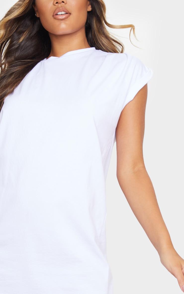 White Oversized Gathered Sleeve T Shirt Dress 4