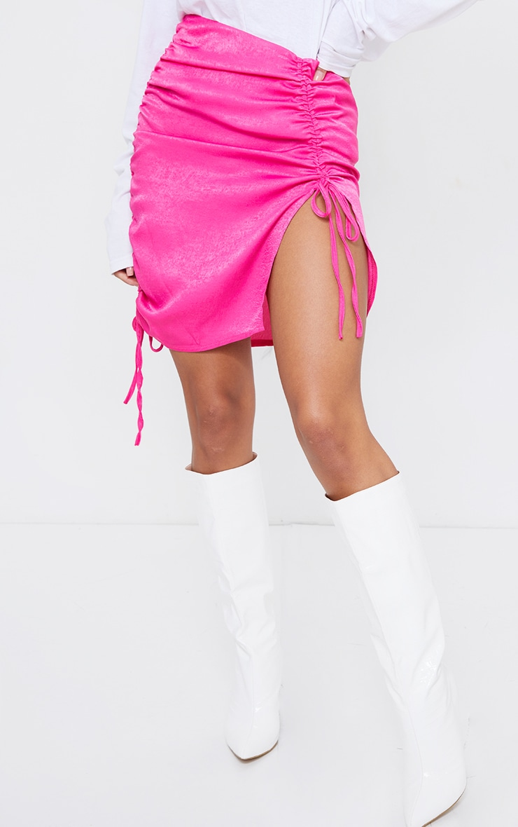 Hot Pink Hammered Satin Ruched Detail Mini Skirt 2