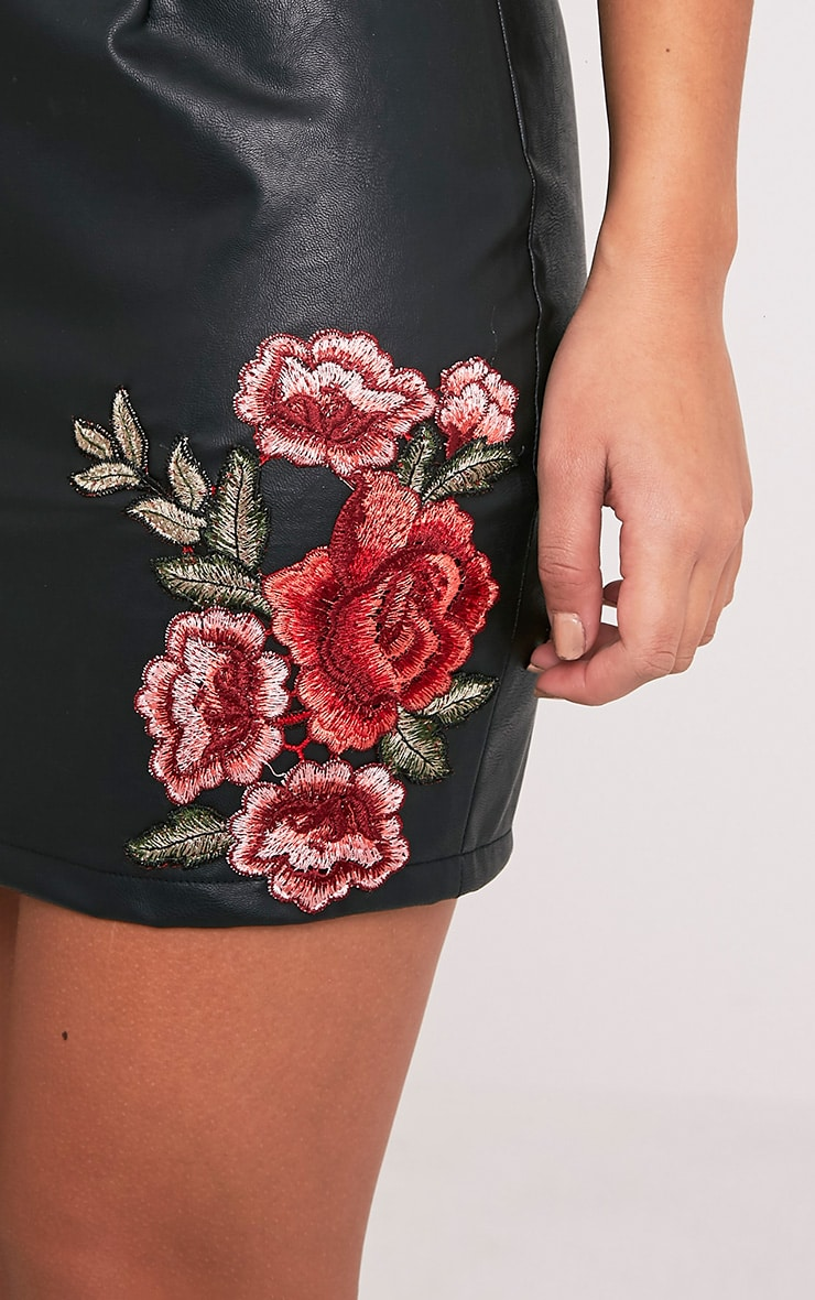 Black Faux Leather Embroidered Rose Mini Skirt 7