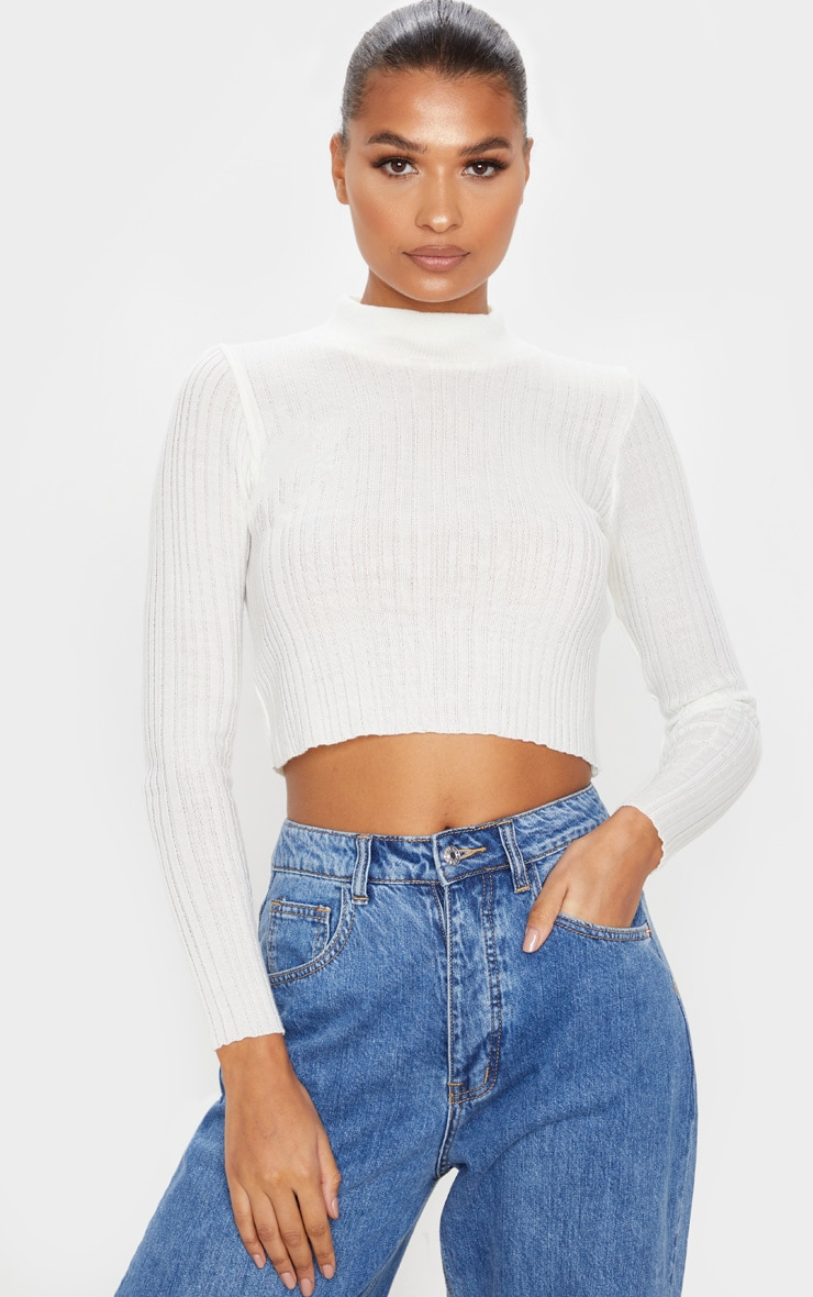 Ivory High Neck Knitted Rib Top 1
