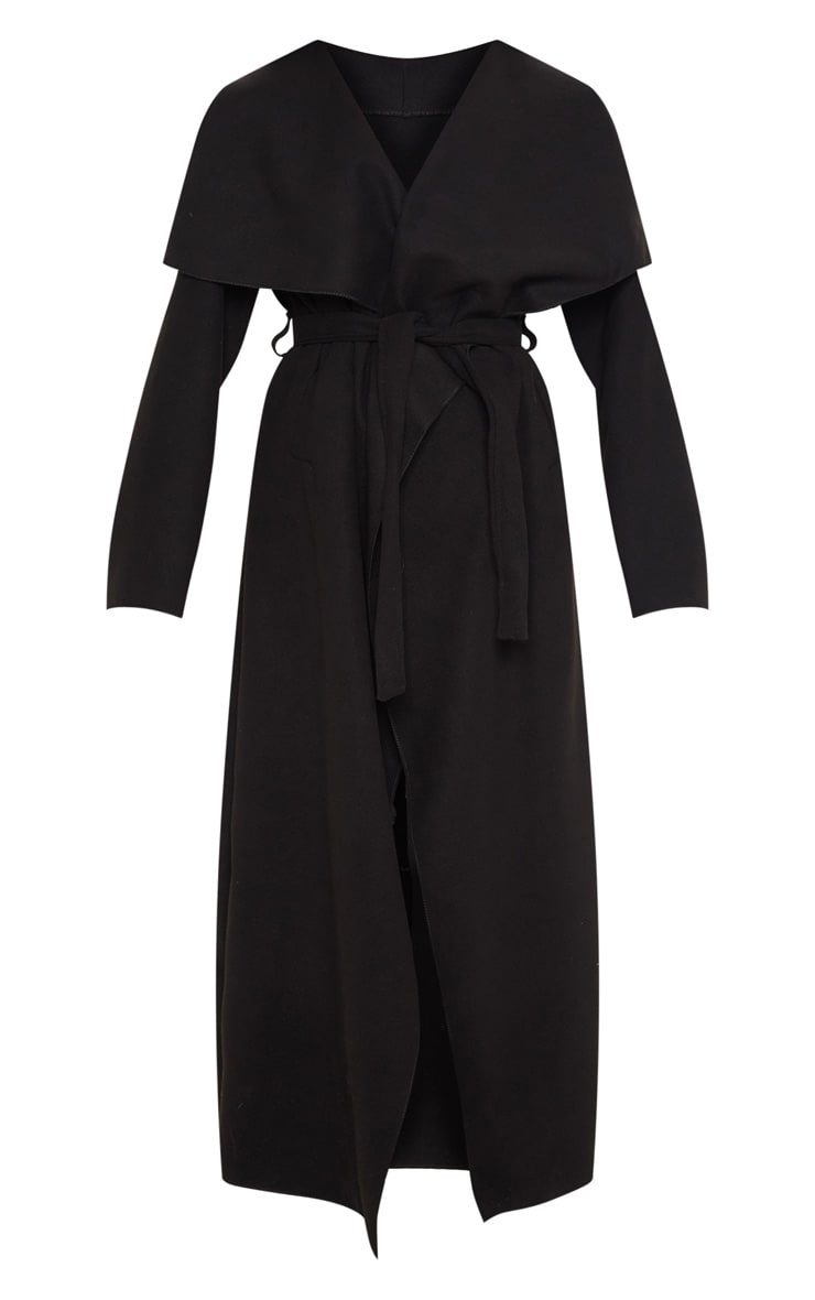Black Maxi Length Oversized Waterfall Belted Coat 3