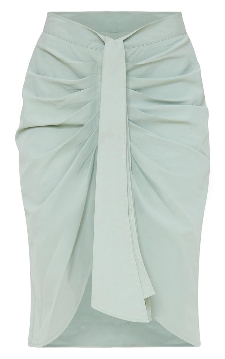 Sage Green Foldover Button Through Midi Skirt 5