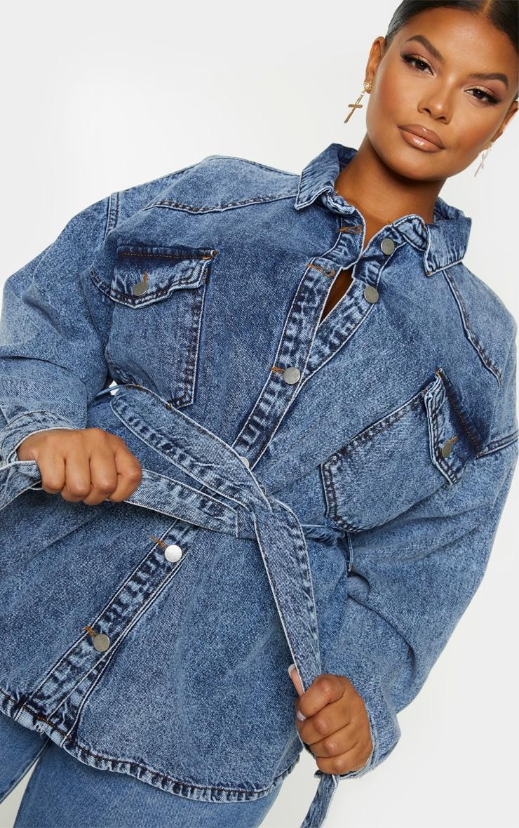 Plus Mid Blue Acid Wash Belted Denim Jacket 5