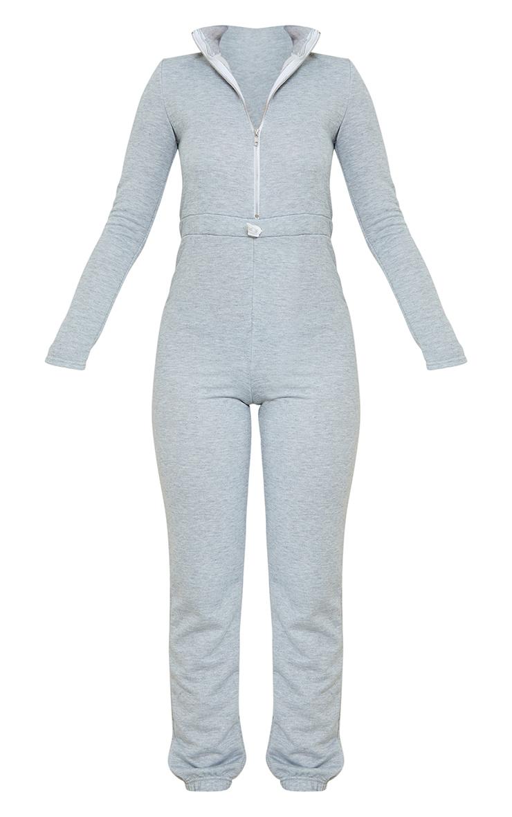 Grey High Neck Shoulder Pad Zip Sweat Jumpsuit 5