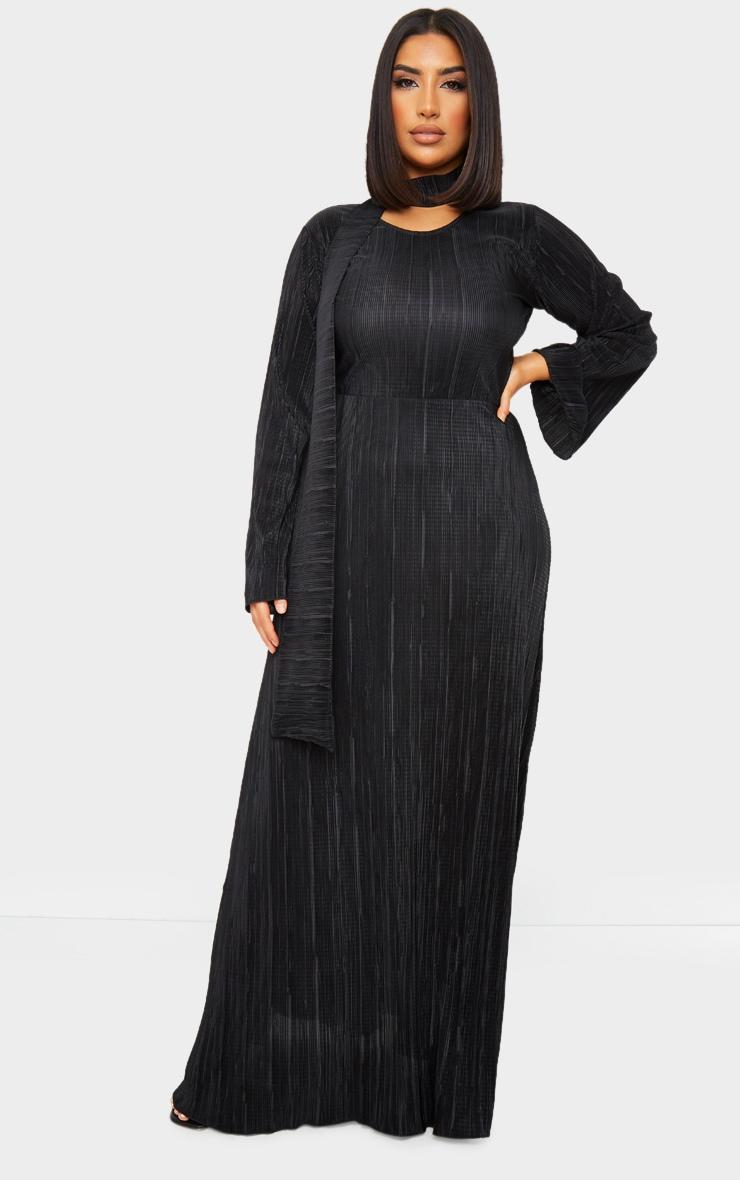 Black Pleated Abaya 1
