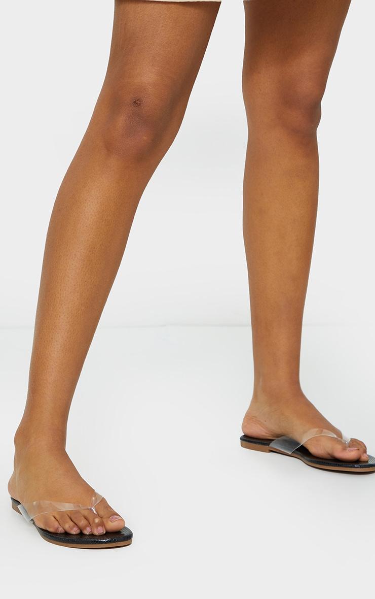 Black Clear Toe Post Sandal 2