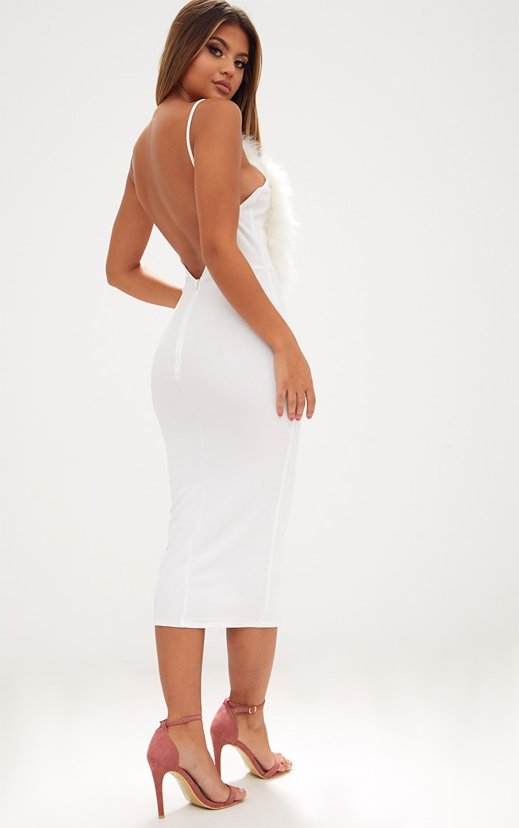 White Feather Bust Strappy Midi Dress 2