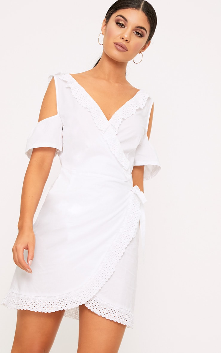 White Broderie Anglaise Cold Shoulder Shift Dress 1