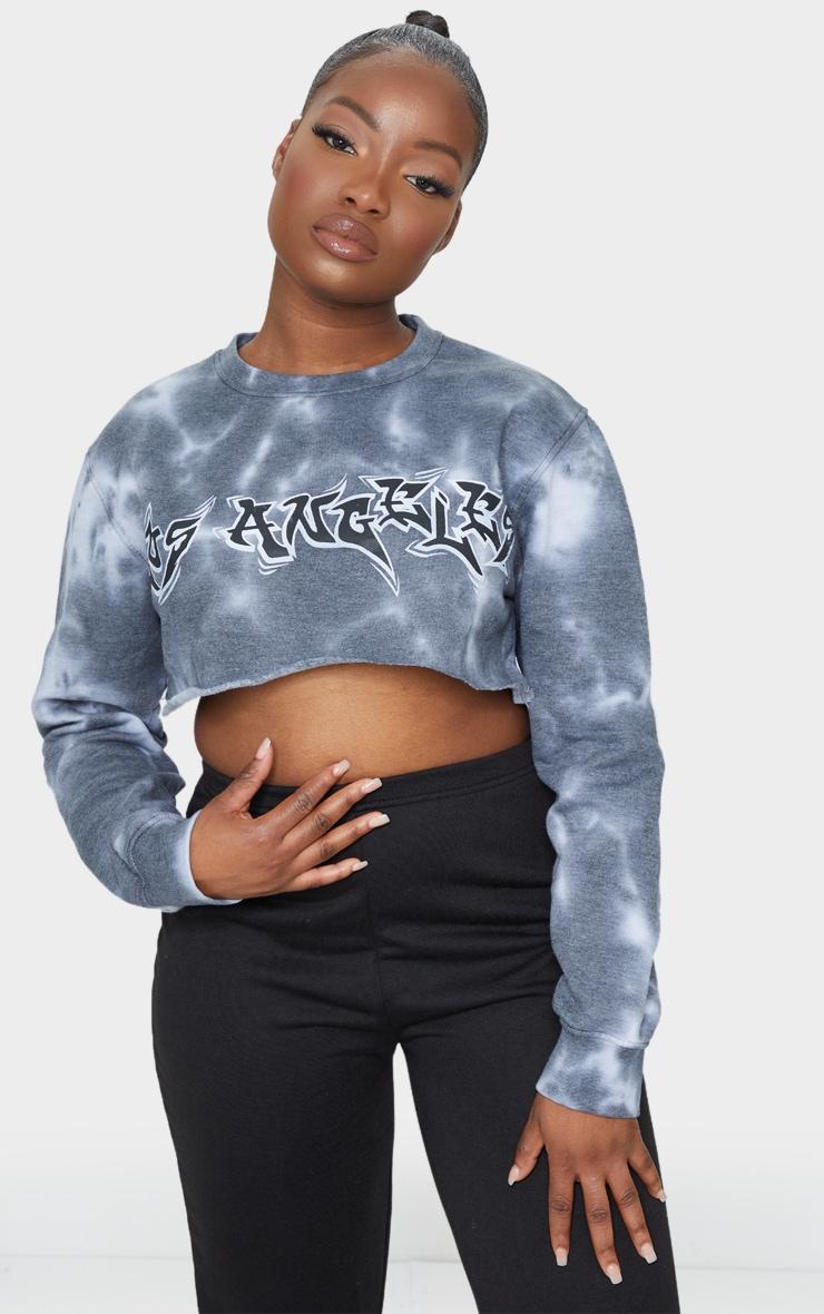 Petite Dark Grey Tie Dye Los Angeles Cropped Sweater 3