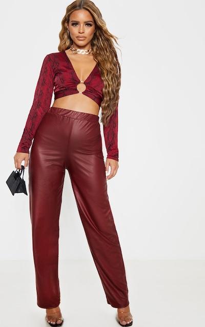 Petite Burgundy Wide Leg PU Trousers