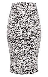 White Leopard Print Rib Midi Skirt 3