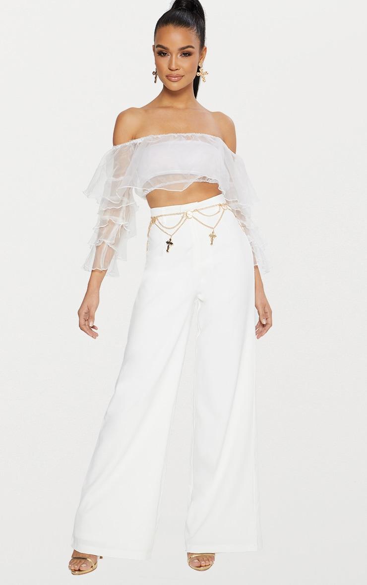 White Organza Frill Sleeve Bardot Crop Top  4