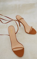 Camel PU Round Toe Barely There Strappy Heeled Sandals 3