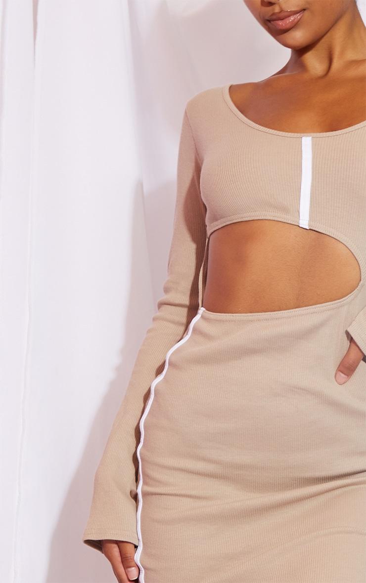 Stone Rib Contrast Trim Cut Out Long Sleeve Midi Dress 4