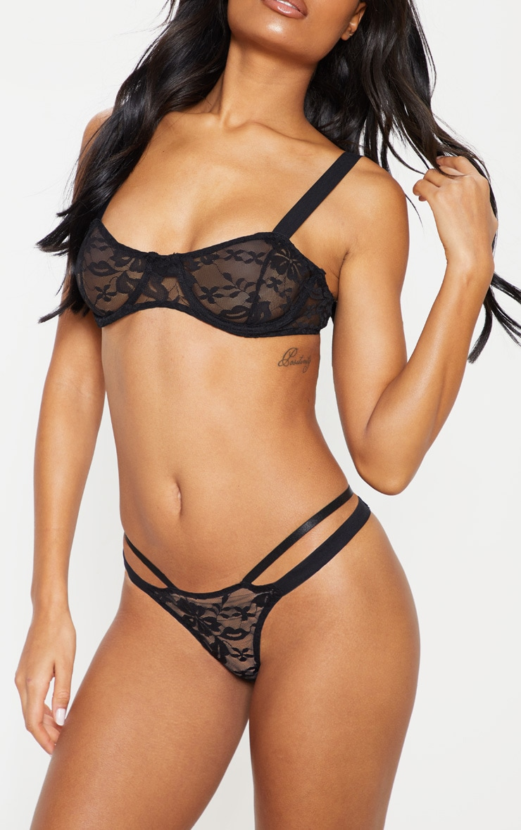 Black Underwired Lace Lingerie Set 5