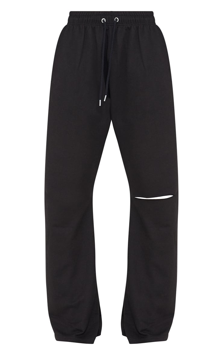 Black Split Knee Wide Leg Joggers 5