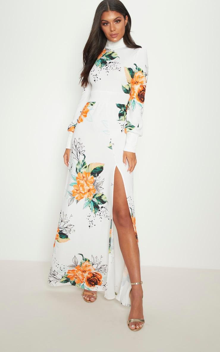 White Floral High Neck Side Split Maxi Dress 1