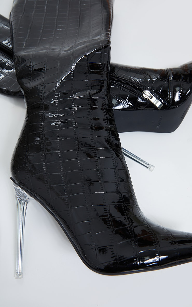 Black Patent Clear Stiletto Heel Knee High Boots 4